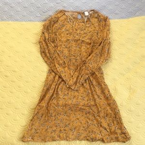 Long sleeve mustard yellow floral dress
